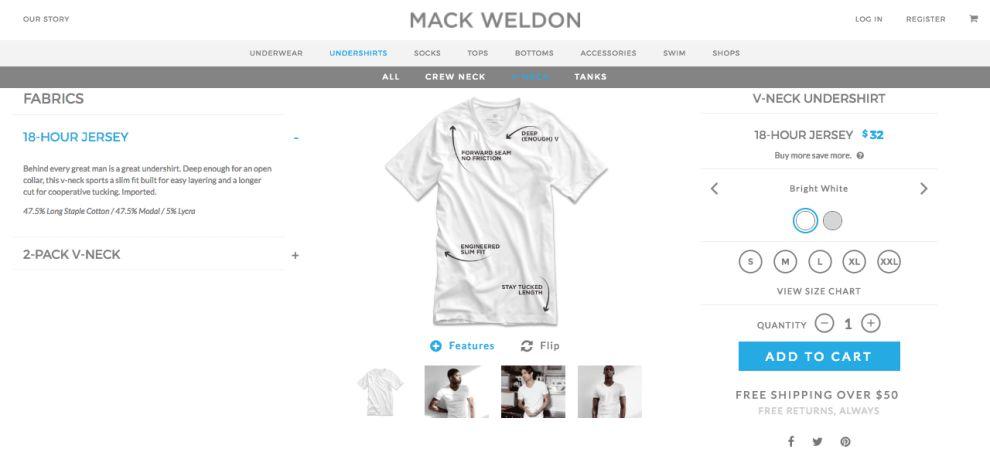 Mack Weldon Top Web Design Product Page