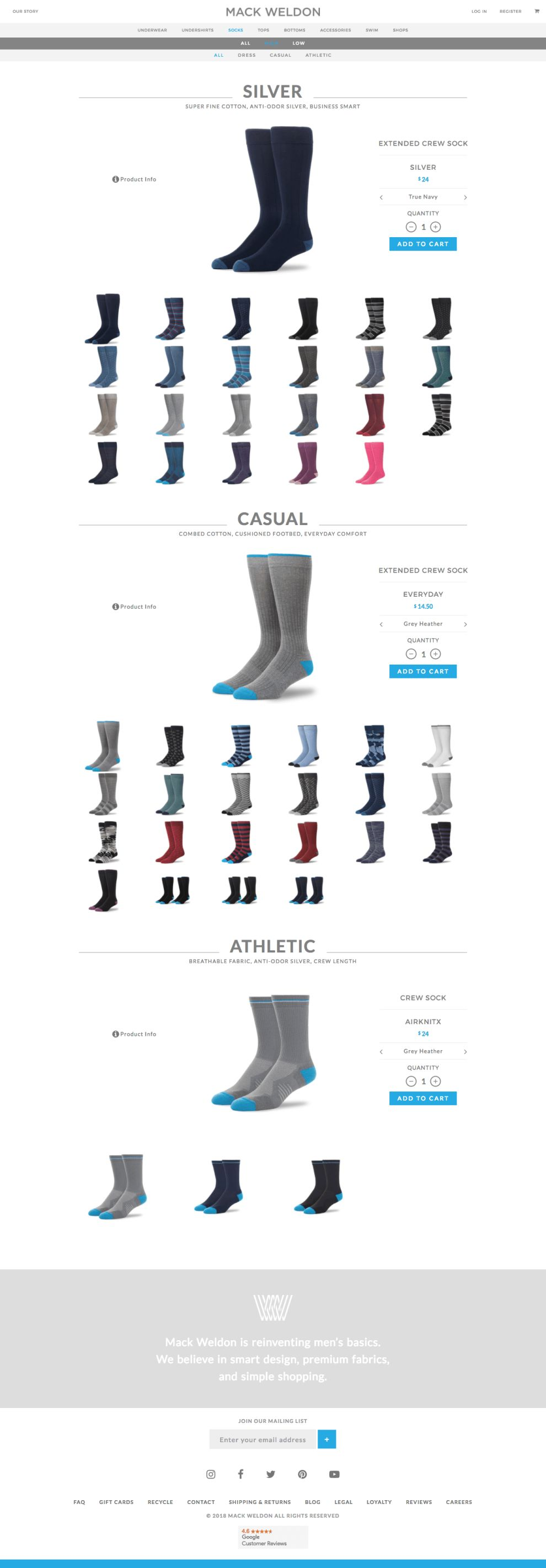 Mack Weldon Informative Website Product Page