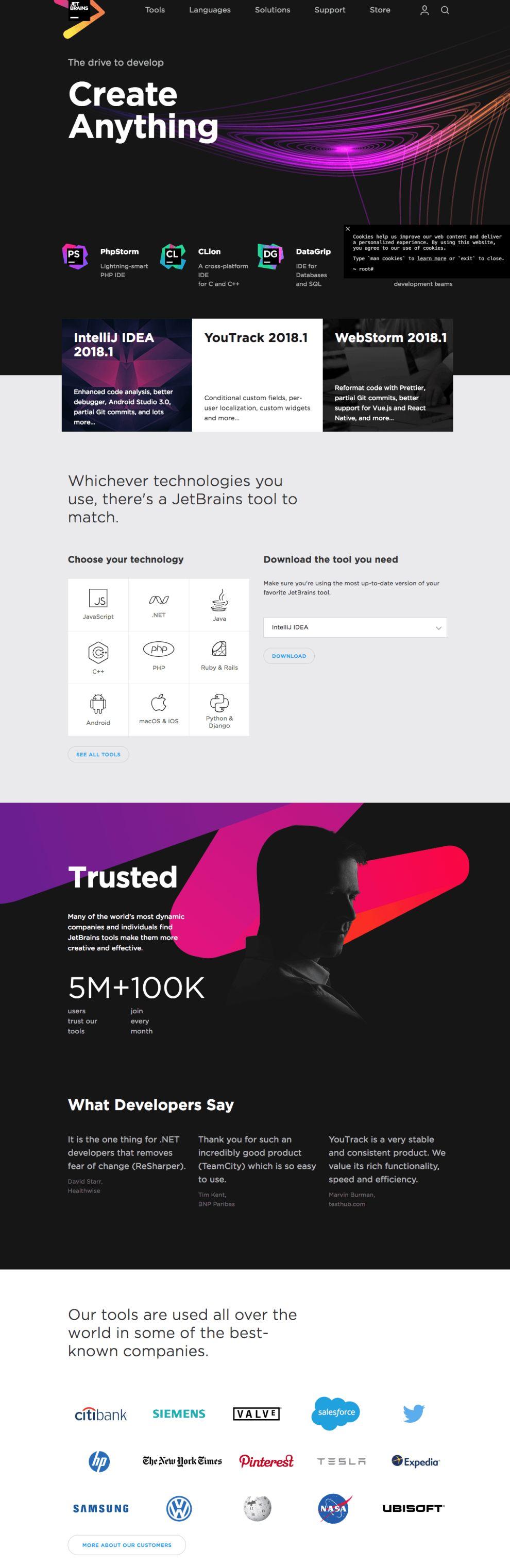 JetBrains Best Website Design