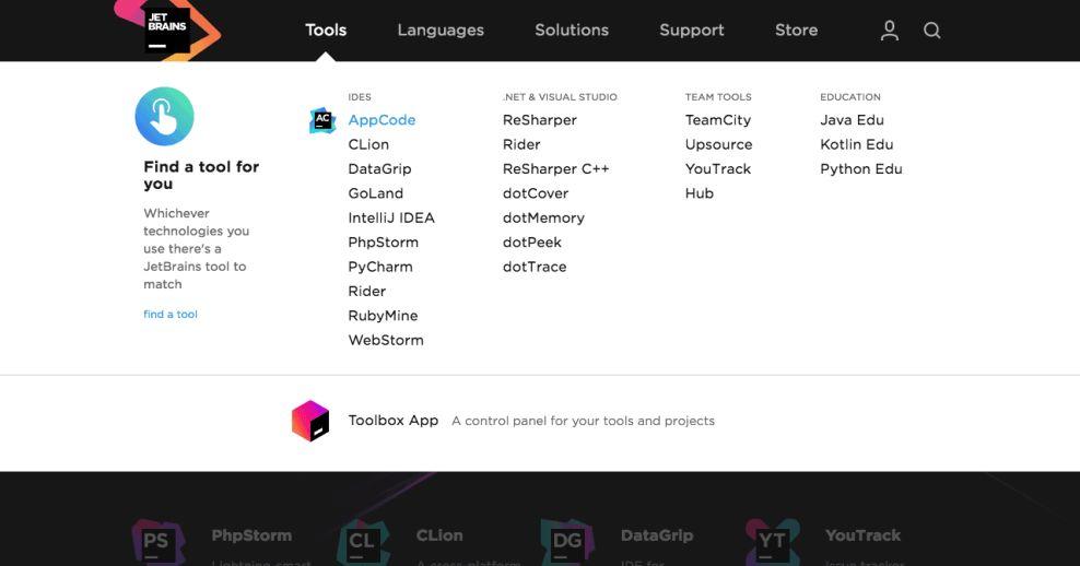 JetBrains Innovative Website Menu Icons