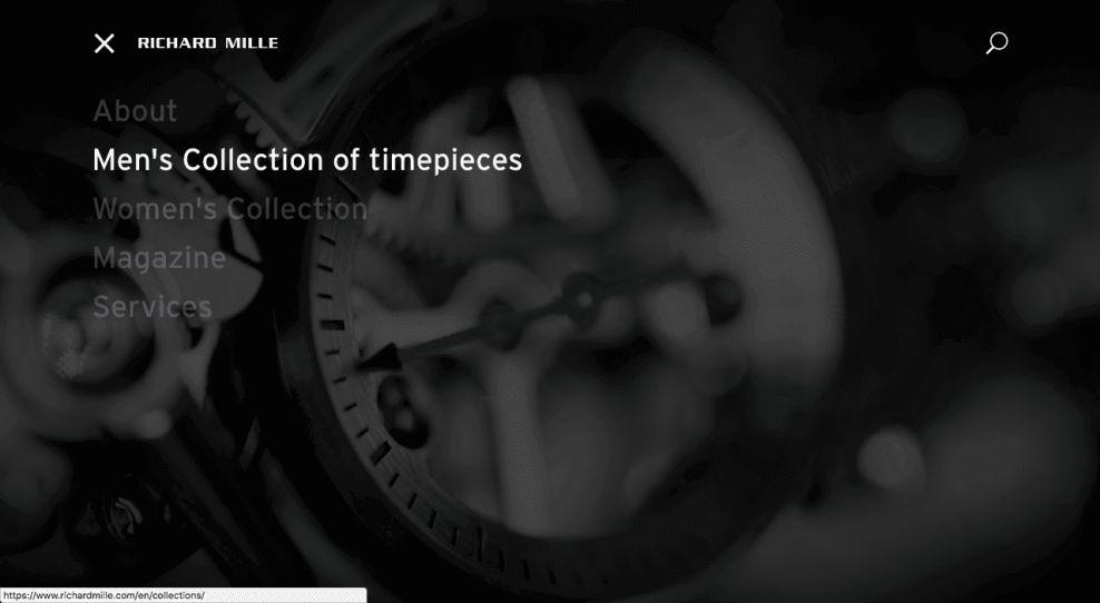 Richard Mille Website Menu