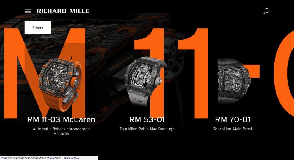 Richard Mille Website Design Product Page