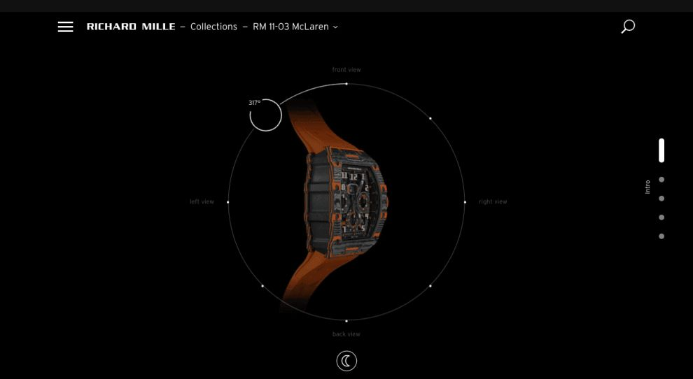 Richard Mille Innovative Website Product View