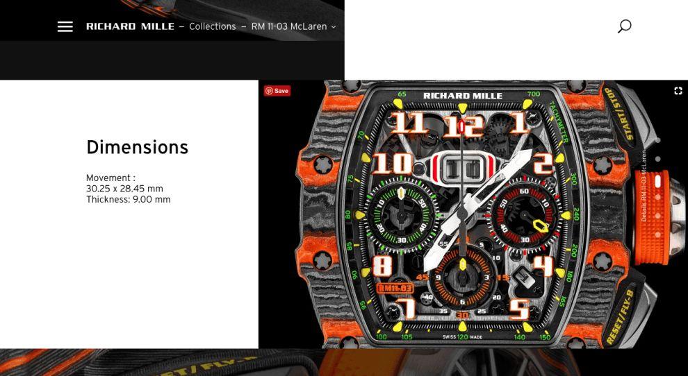Richard Mille Website Product Specs