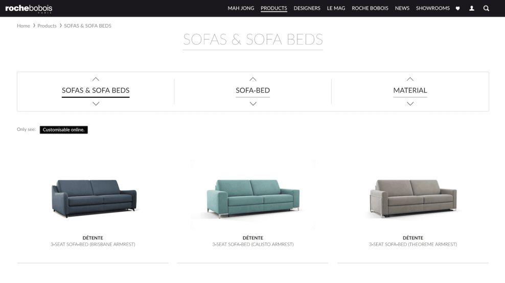 Roche Bobois Products Website Design