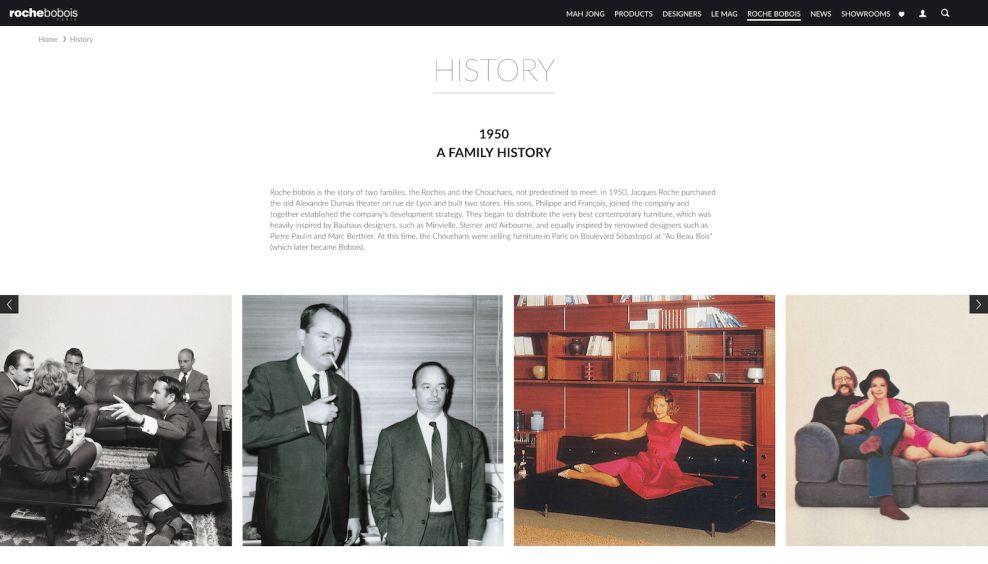 Roche Bobois About Website Design