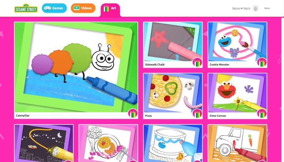 Sesame Street Art Landing Page Website Design