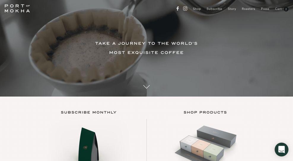 Port of Mokha E-Commerce Website Homepage