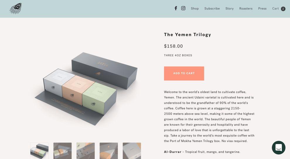 Port of Mokha E-Commerce Website Product Page