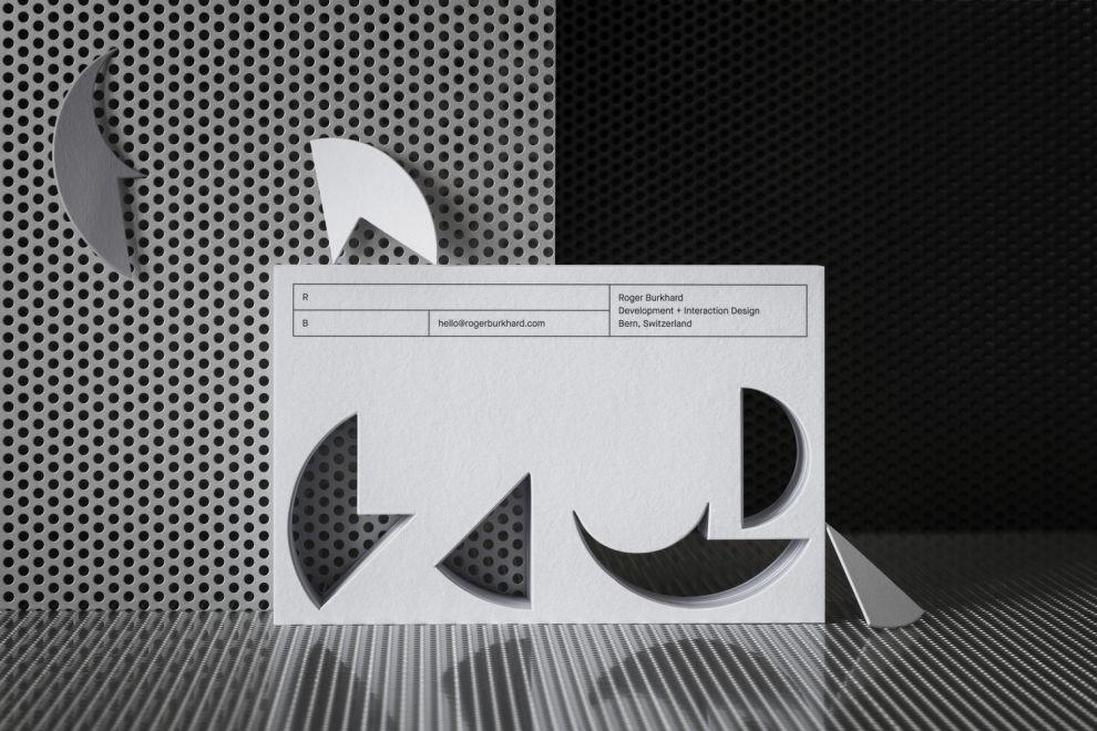 Roger Burkhard Geometric Business Cards Print Designs