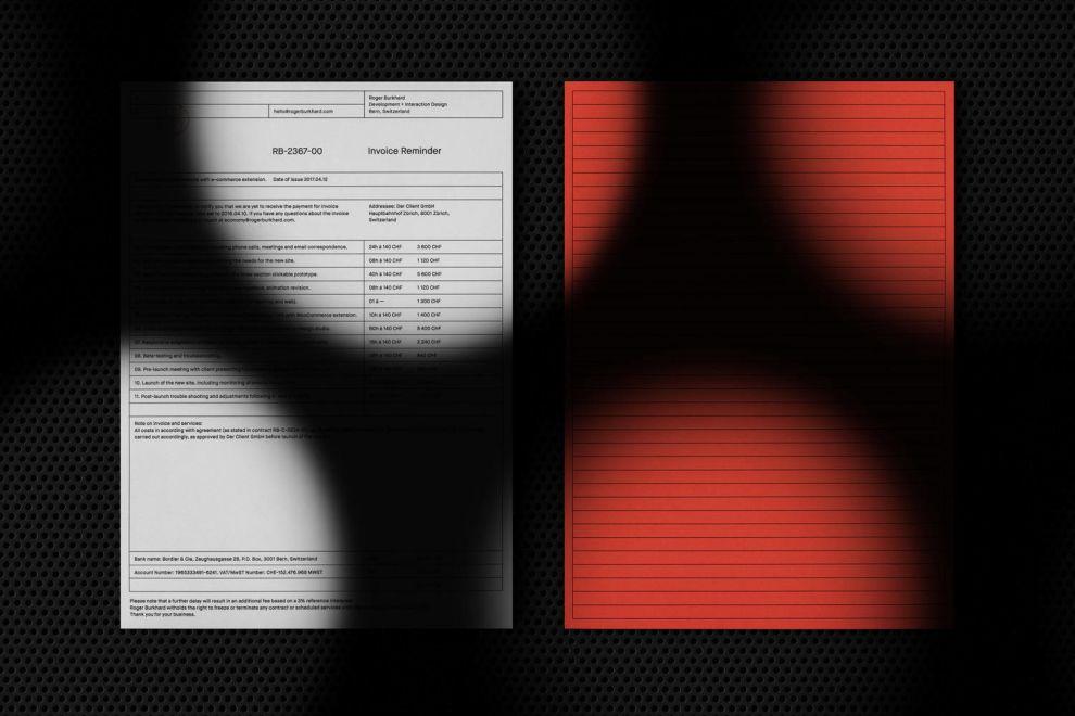 Roger Burkhard Top Print Designs Invoice
