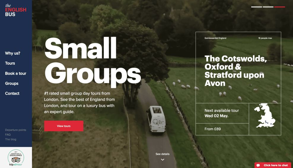 The English Bus Homepage Website Design