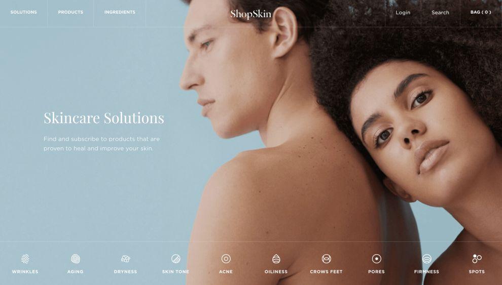 ShopSkin Homepage Website Design