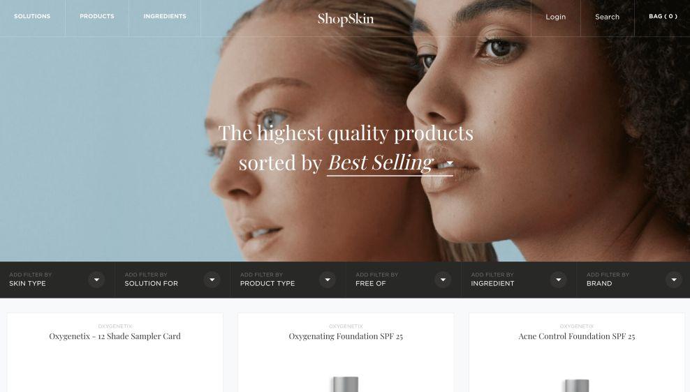 ShopSkin Product Landing Page Website Design