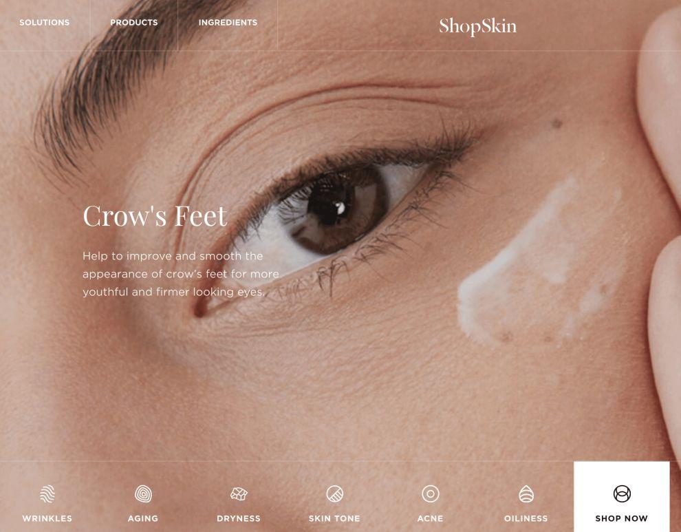 ShopSkin Menu Bar Website Design