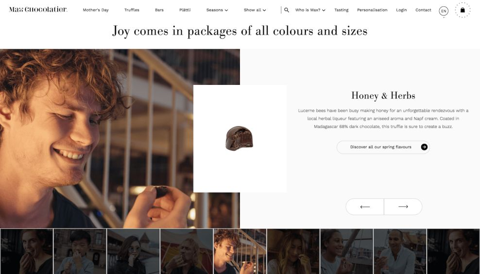 Max Chocolatier Gallery Website Design