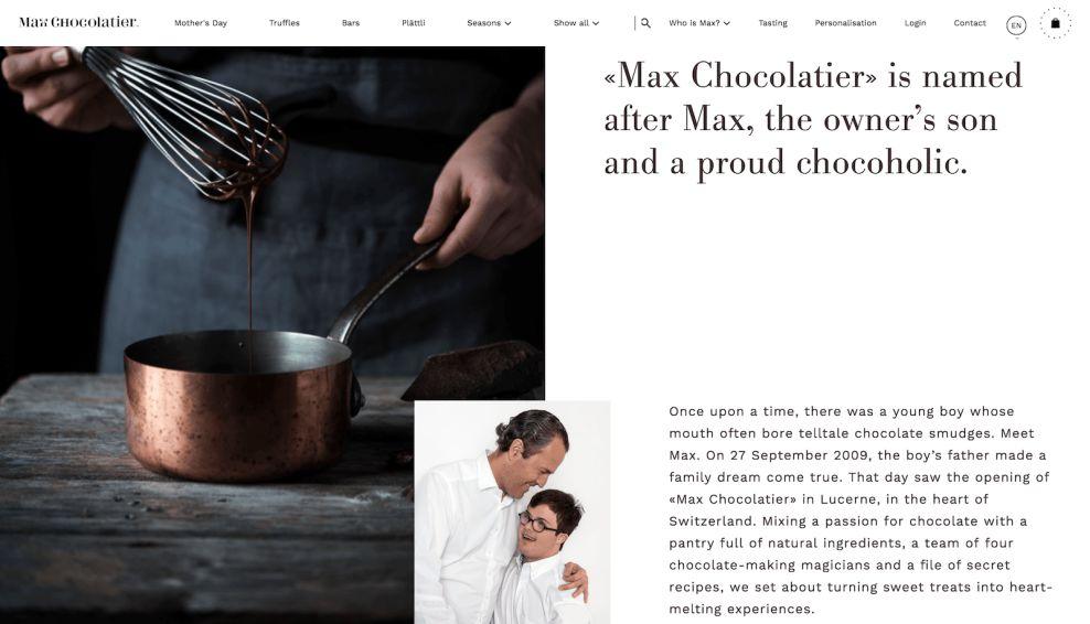 Max Chocolatier About Website Design