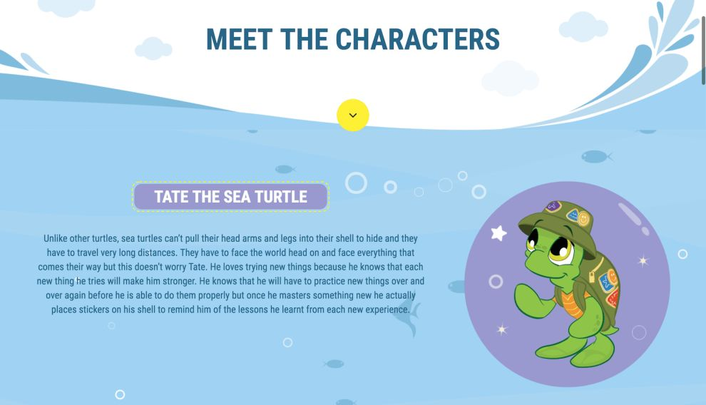 The Magic Coat Character Page Website Design