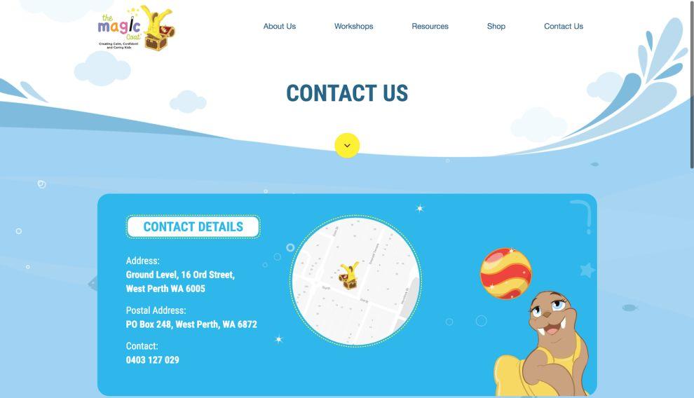 The Magic Coat Contact Page Website Design