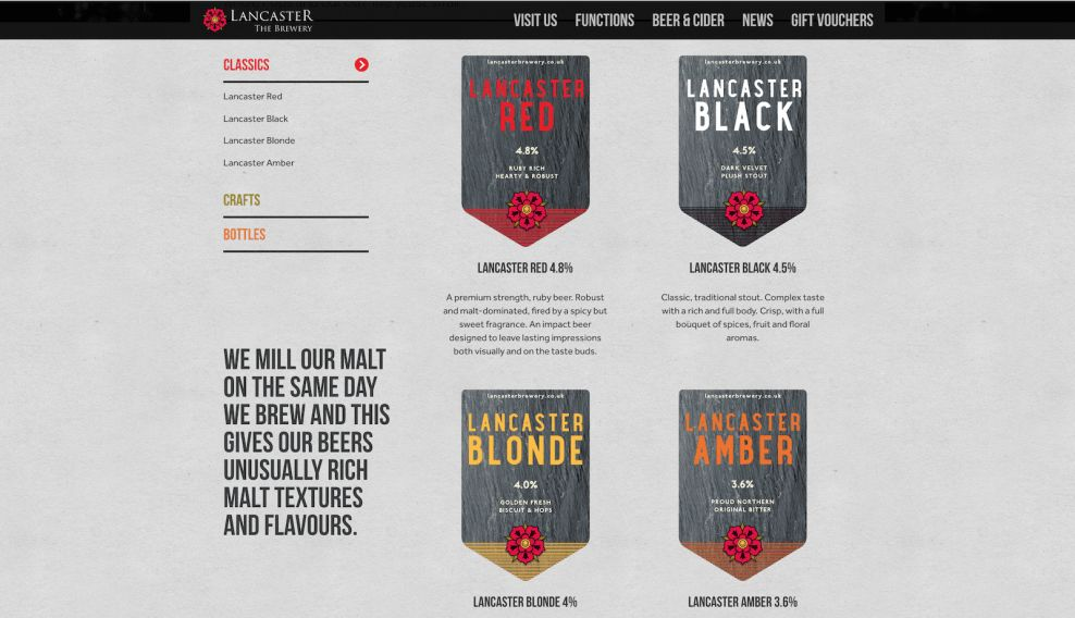 Lancaster Brewery Products Website Design