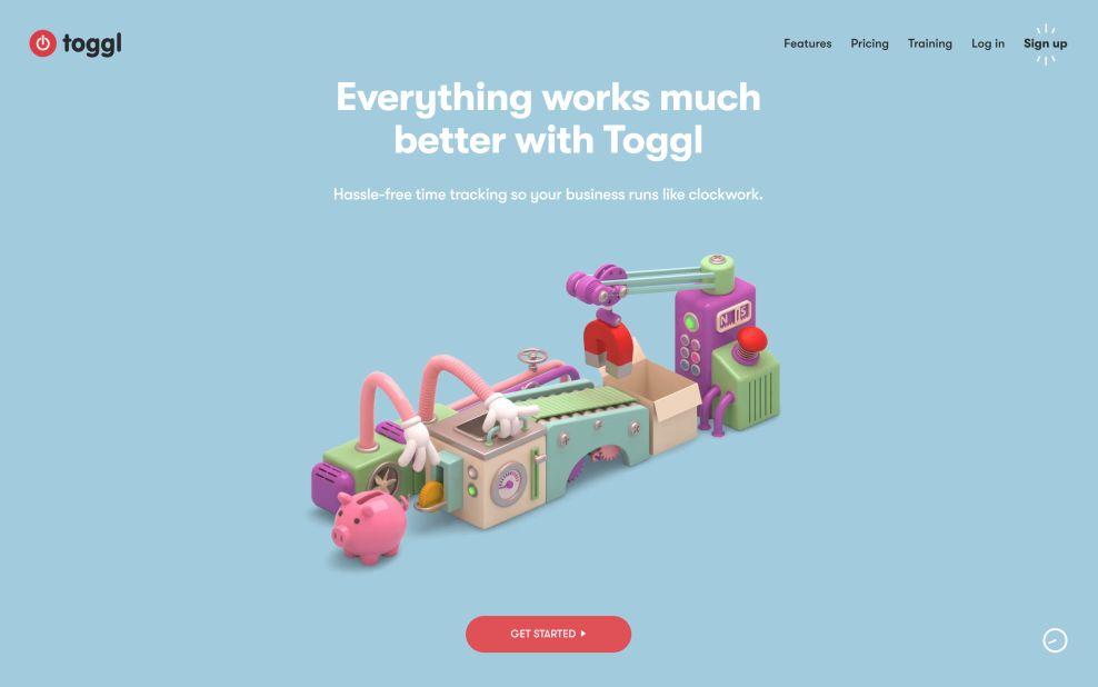 Toggl Home Page Website Design