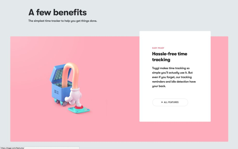 Toggl Features Website Design