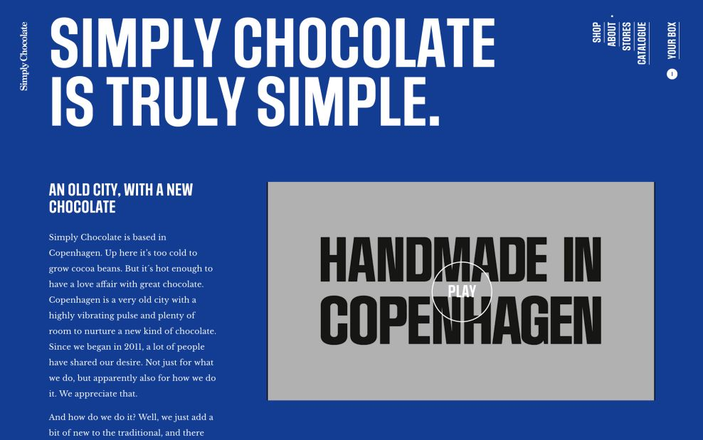 Simply Chocolate About Page Website Design