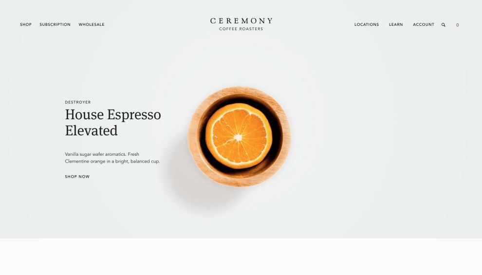 Ceremony Home Page Website Design