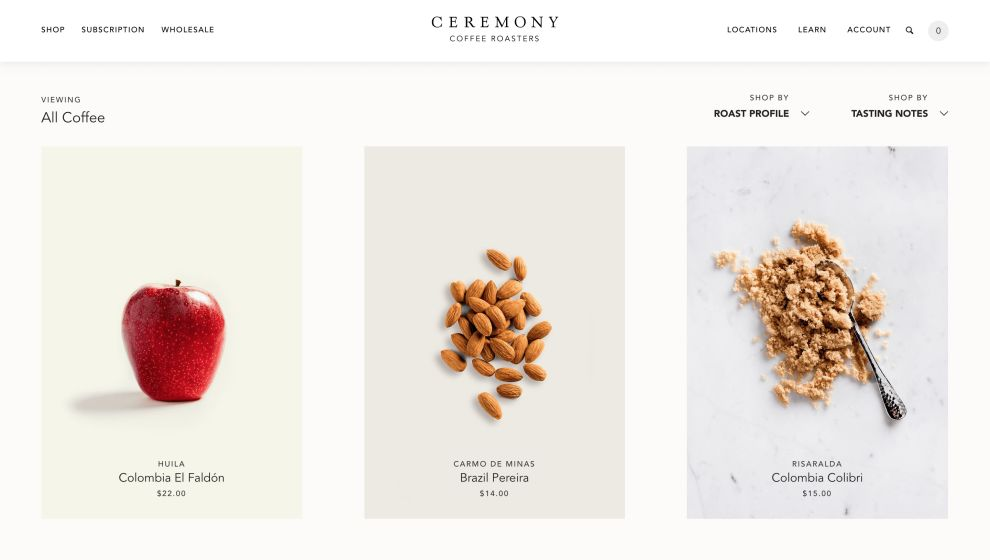 Ceremony Product Page Website Design