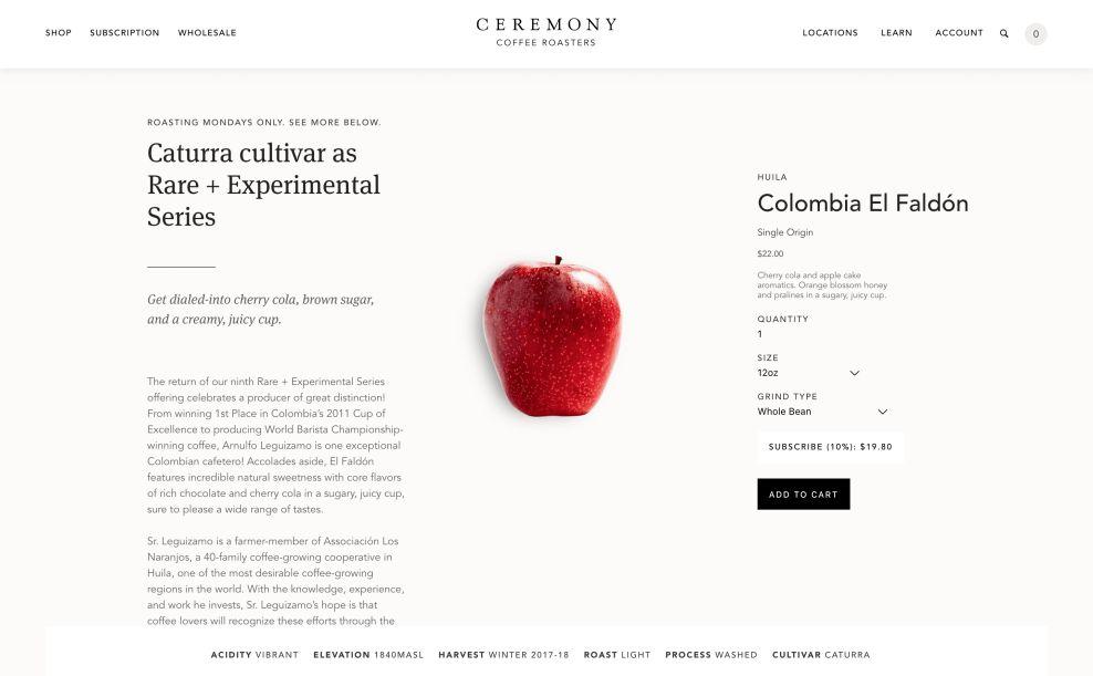 Ceremony Checkout Website Design