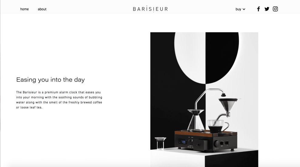 Barisieur About Page Website Design