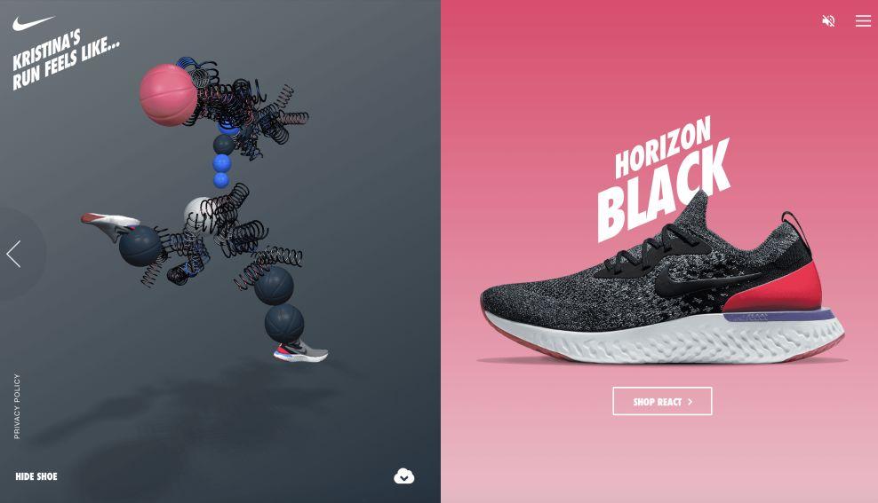 Nike React Shop Page Website Design