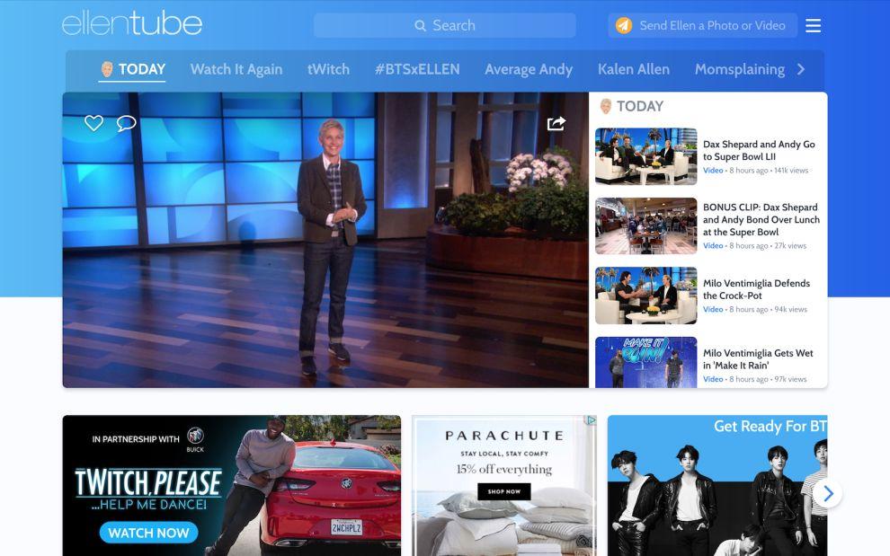 Ellentube Main Page Videos Website Design