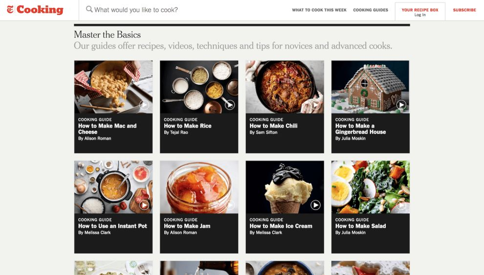 NYT Cooking Guides Website Design