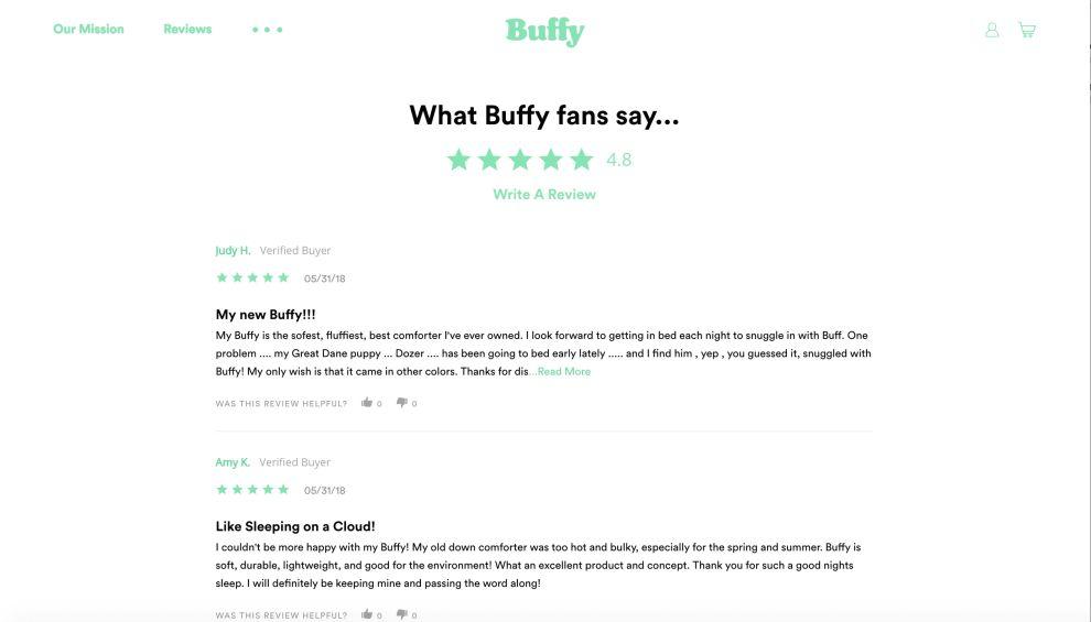 Buffy Reviews Website Design