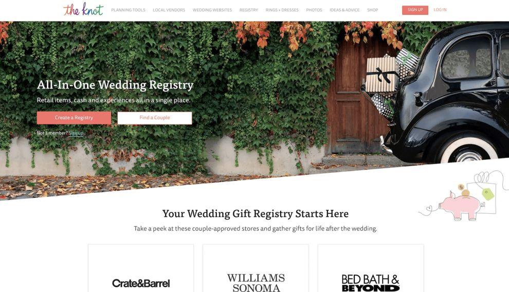 The Knot Home Page Website Design
