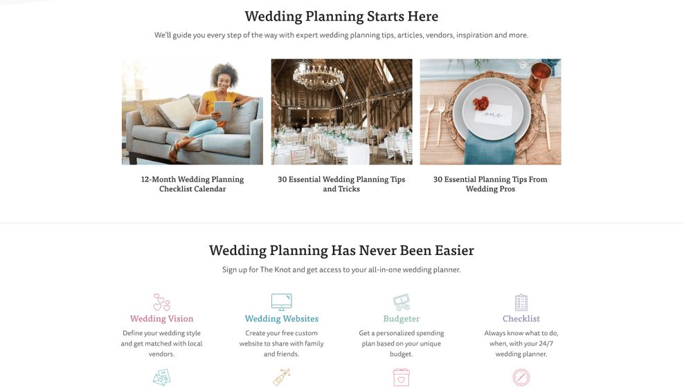 The Knot Icons Website Design