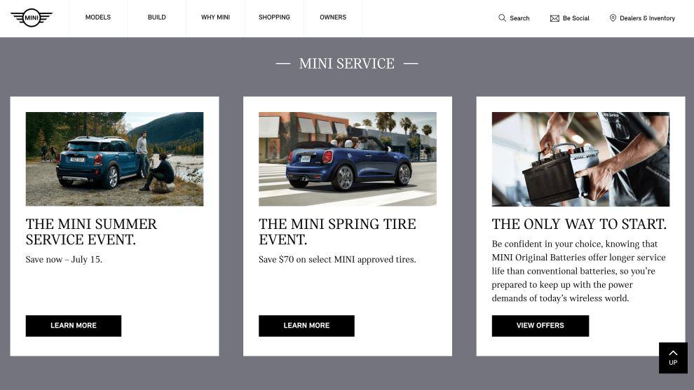 Mini Cooper Cards Website Design