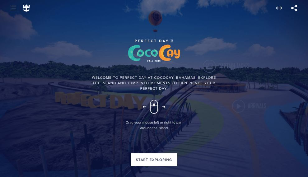 Royal Caribbean CocoCay Homepage Website Design