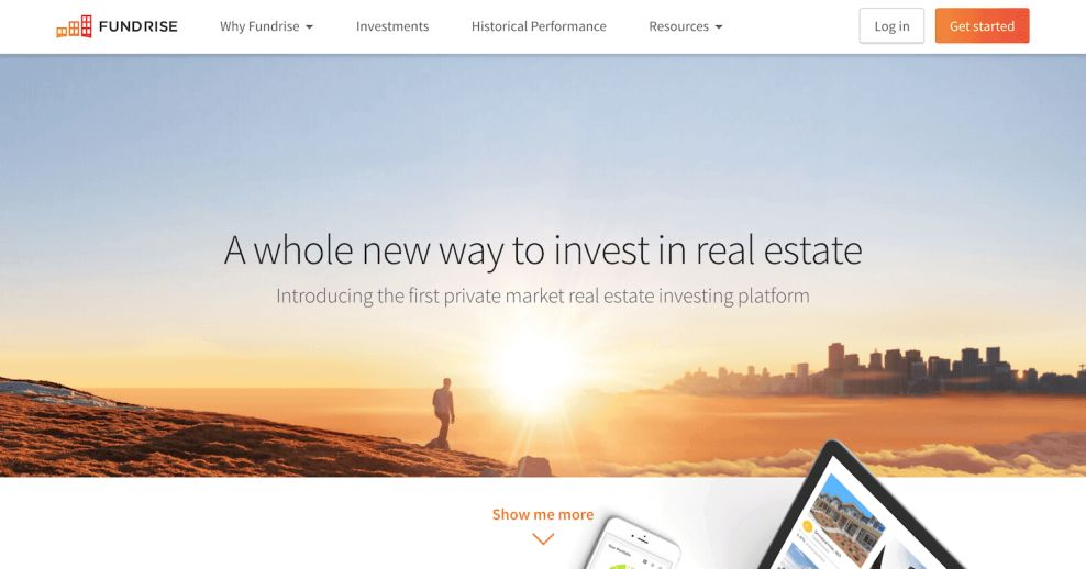 Fundrise Home Page Web Design