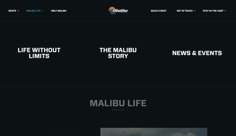 Malibu Boats Stunning Website Design