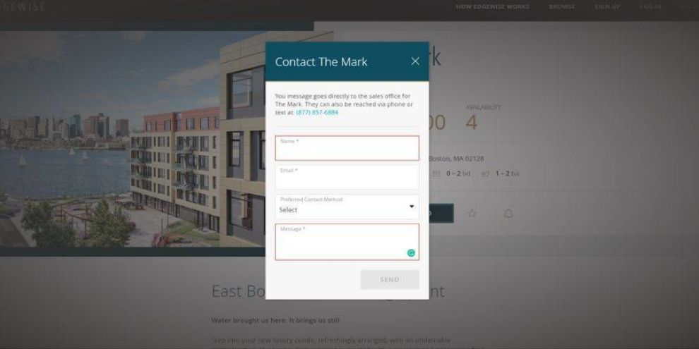real estate website design contact form
