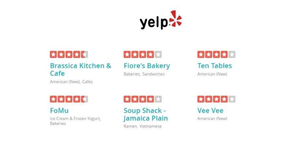 real estate web design: Yelp reviews