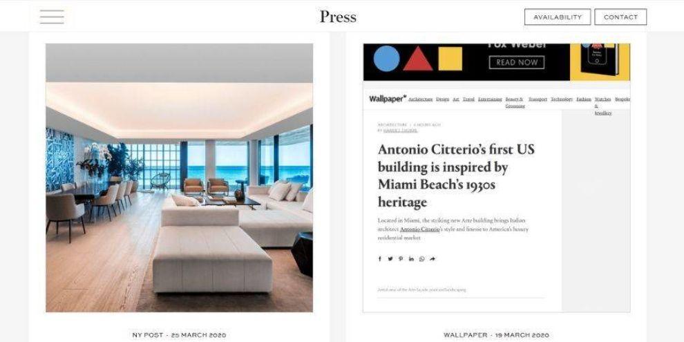 real estate web design -press page