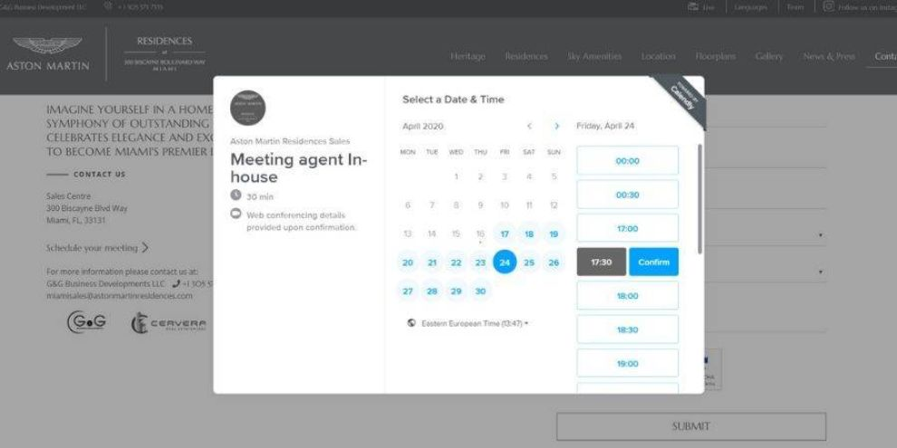 Real estate website design appointment page