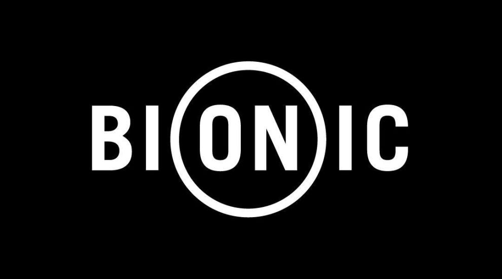 Bionic logo monochromatic on black background