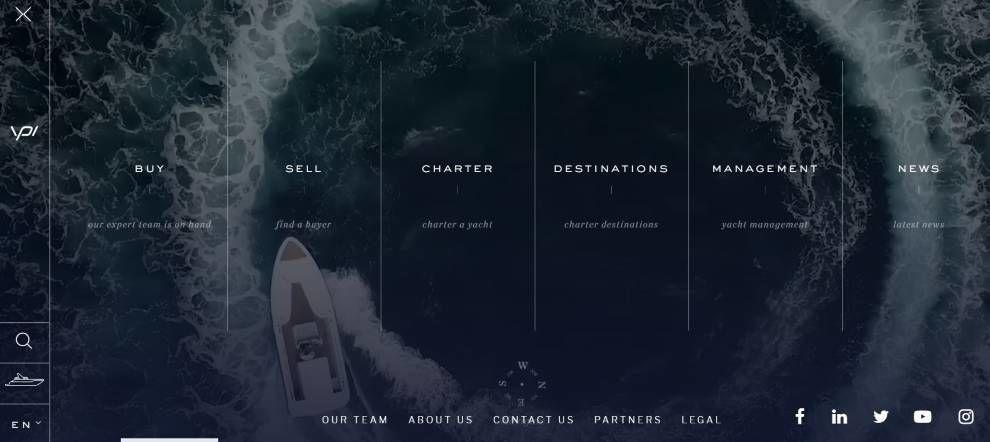 YPI website navigation menu screenshot