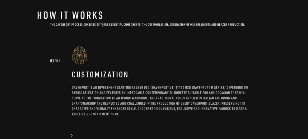 Davenport website typography screenshot