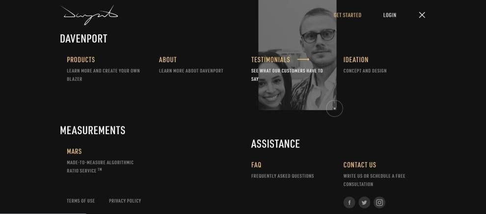 Davenport website menu screenshot