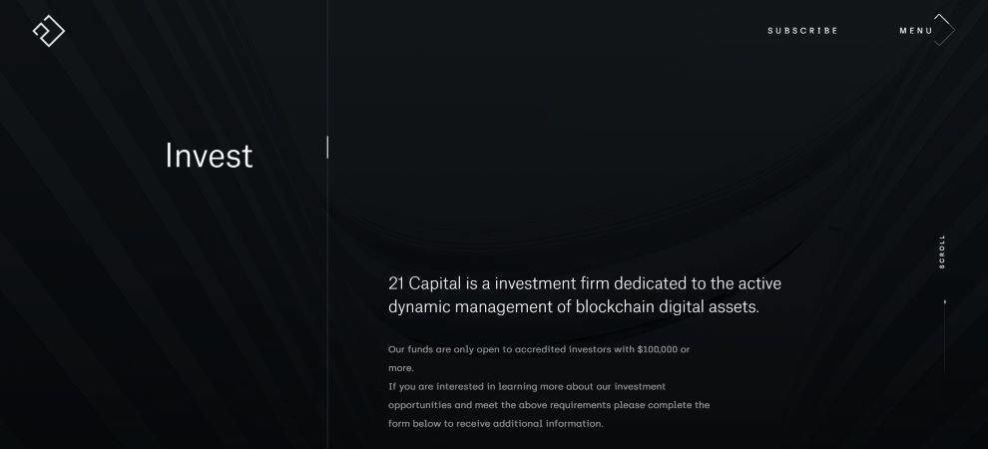 21 Capital invest pages clean typography screenshot